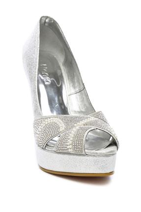 Kemal Tanca Gri Kadın Vegan Klasik Topuklu Ayakkabı 592 2310 BN AYK 1