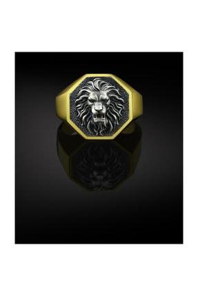 Bysilverstone Aslan Altın Kaplama Gümüş Erkek Yüzük 0