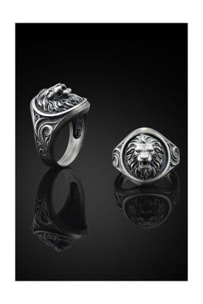 Bysilverstone Aslan Işlemeli Gümüş Erkek Yüzük 0