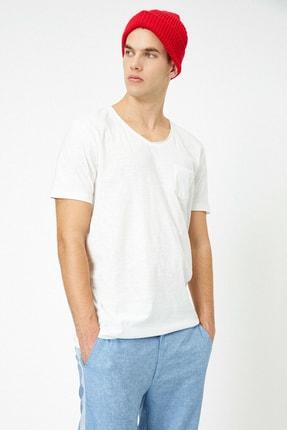 Koton Erkek Ekru V Yaka T-Shirt 0YAM12058LK 0