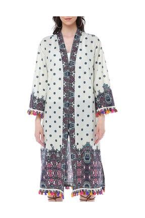 Diger Karakterler Etnik Desenli Aksesuar Detaylı Pamuklu Kumaştan Yazlık Uzun Kimono Elbise 0