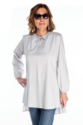 Kadın Gri  Uzun Kol Tunik fw01748fb resmi