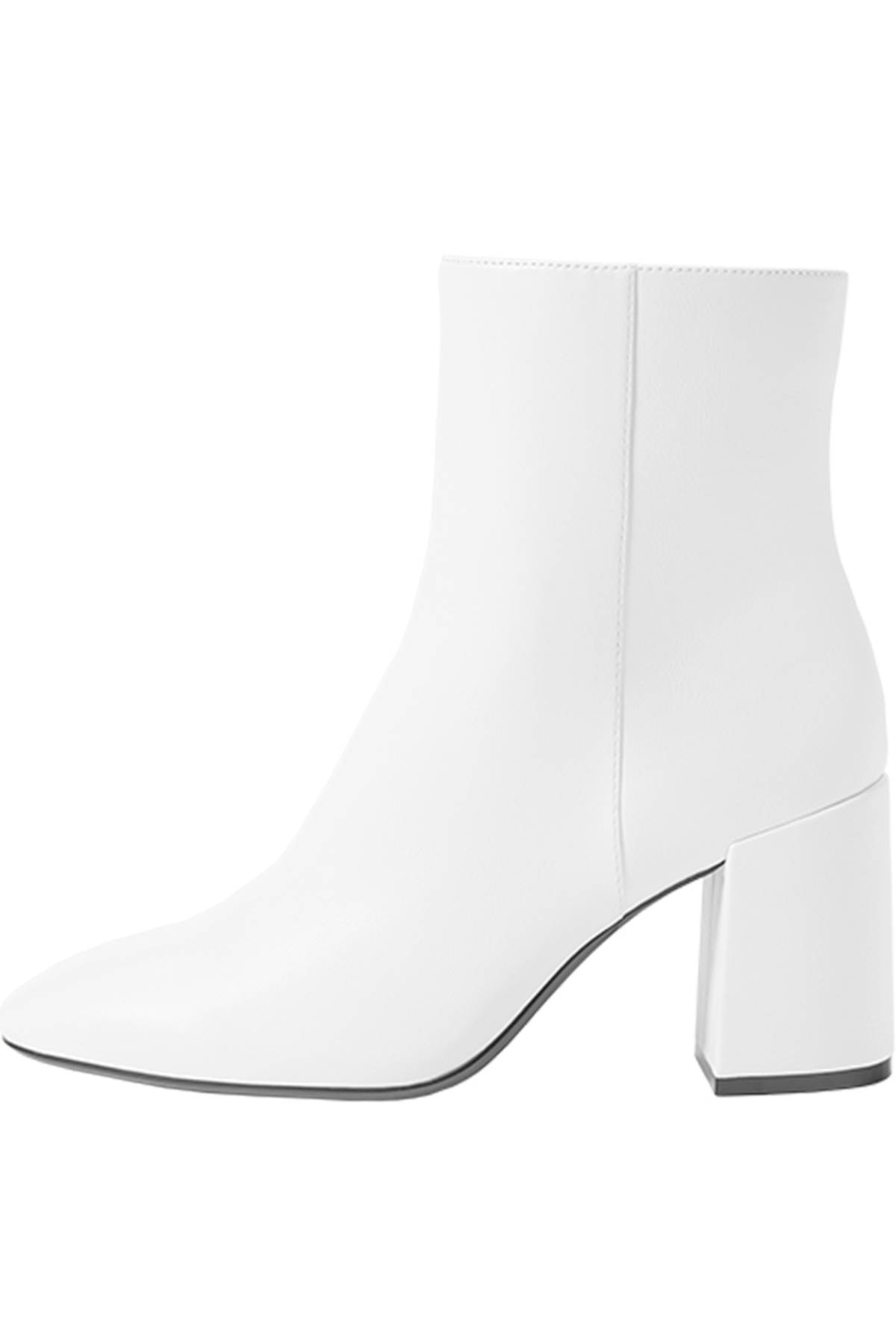 Bershka Kadın Beyaz Fermuarlı Ve Topuklu Bilekte Bot 11109560 1