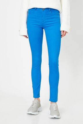 Koton Kadın Lacivert Pantolon 9YAK43550DW 2
