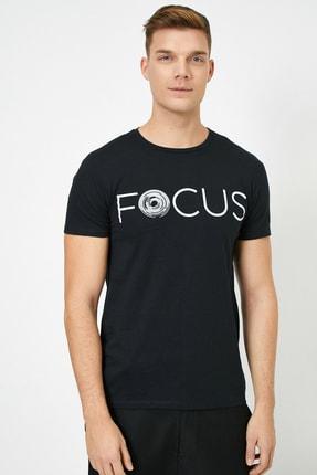Koton Erkek Siyah Yazılı Baskılı T-Shirt 2