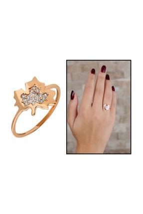Tesbihane Zirkon Taşlı Çınar Yaprağı Tasarım Rose Renk 925 Ayar Gümüş Bayan Yüzük 2