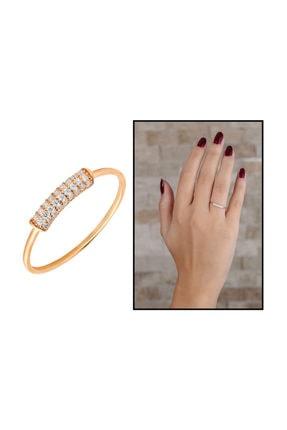 Tesbihane Zirkon Taşlı Tüp Tasarım Rose Renk 925 Ayar Gümüş Bayan Yüzük 2