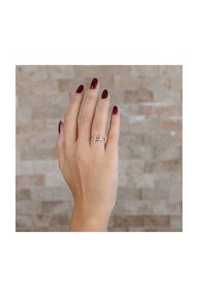 Tesbihane Zirkon Taşlı Kertenkele Tasarım Rose Renk 925 Ayar Gümüş Bayan Yüzük 1