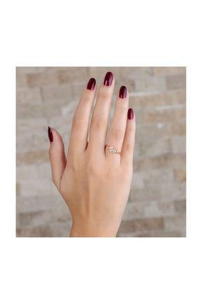 """Tesbihane Zirkon Taşlı """"v"""" Tasarım Rose Renk 925 Ayar Gümüş Bayan Yüzük 2"""