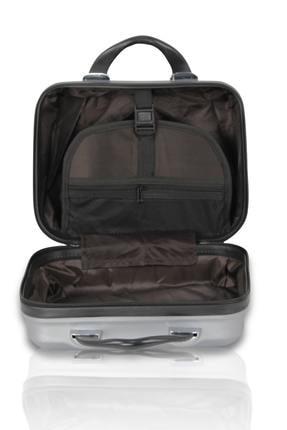Troya Bags gri Unisex 2'li Set, Makyaj ve Kabin Boy Valiz TR0908 4