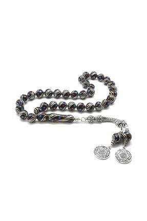 Tesbihane 925 Ayar Gümüş Püsküllü Gümüş-Firuze-Mercan İşlemeli Küre Kesim Erzurum Oltu Taşı Tesbih 101001824 0