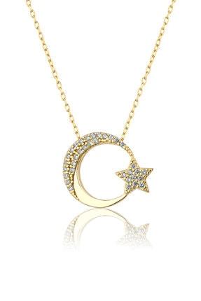 Papatya Silver 925 Ayar Altın Kaplama Gümüş Ay Yıldız Kolye 0