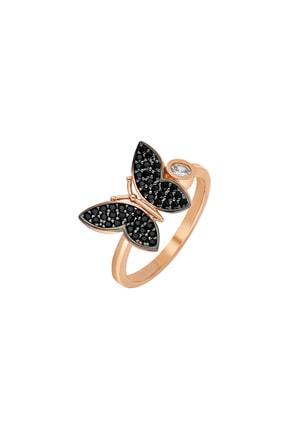 Tesbihane Siyah Zirkon Taşlı Kelebek Tasarım 925 Ayar Gümüş Kadın Yüzük 102001641 1