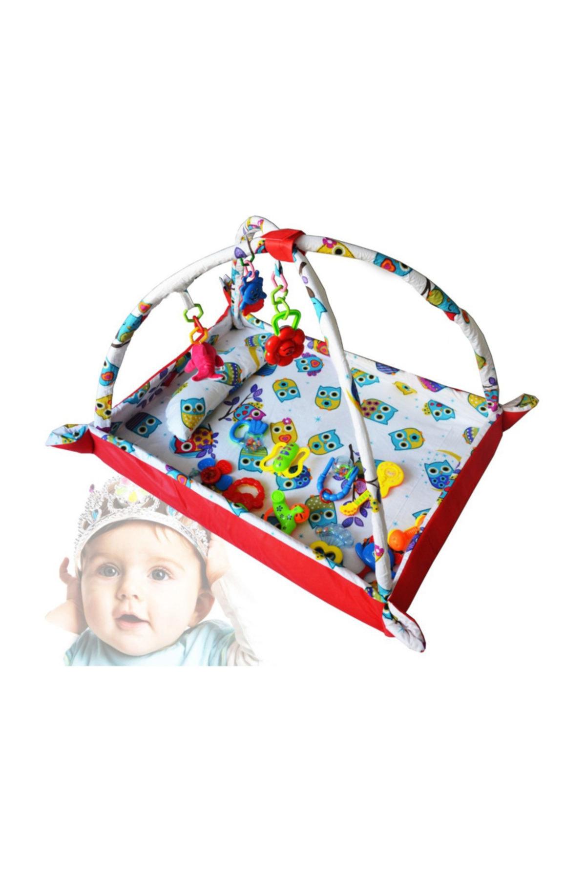 Pamuk Kumaş Bebek Oyun Halı Ve Çocuk Alanı Kırmızı Baykuşlu