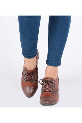 Pretty Fermuar Ve Bağcıklı Taba Renk Kadın Ayakkabı 4