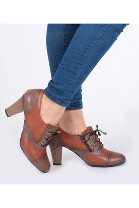 Pretty Fermuar Ve Bağcıklı Taba Renk Kadın Ayakkabı 1