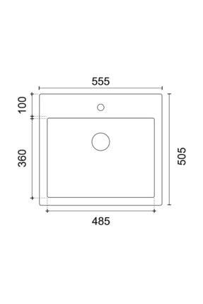 Vıvıano | | 1 Göz 51x56 Cm Siyah Granit Evye Sifon 1