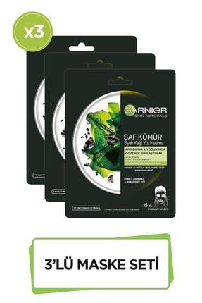 Garnier Siyah Yosunlu Gözenek Sıkılaştırıcı Kağıt Yüz Maskesi 3'lü Set 36005420971782 0