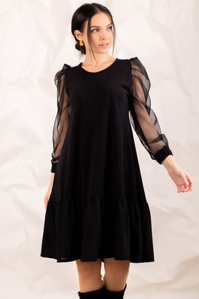 Kadin Siyah Kolu Tüllü Alti Firfirli Elbise ARM-20K001110