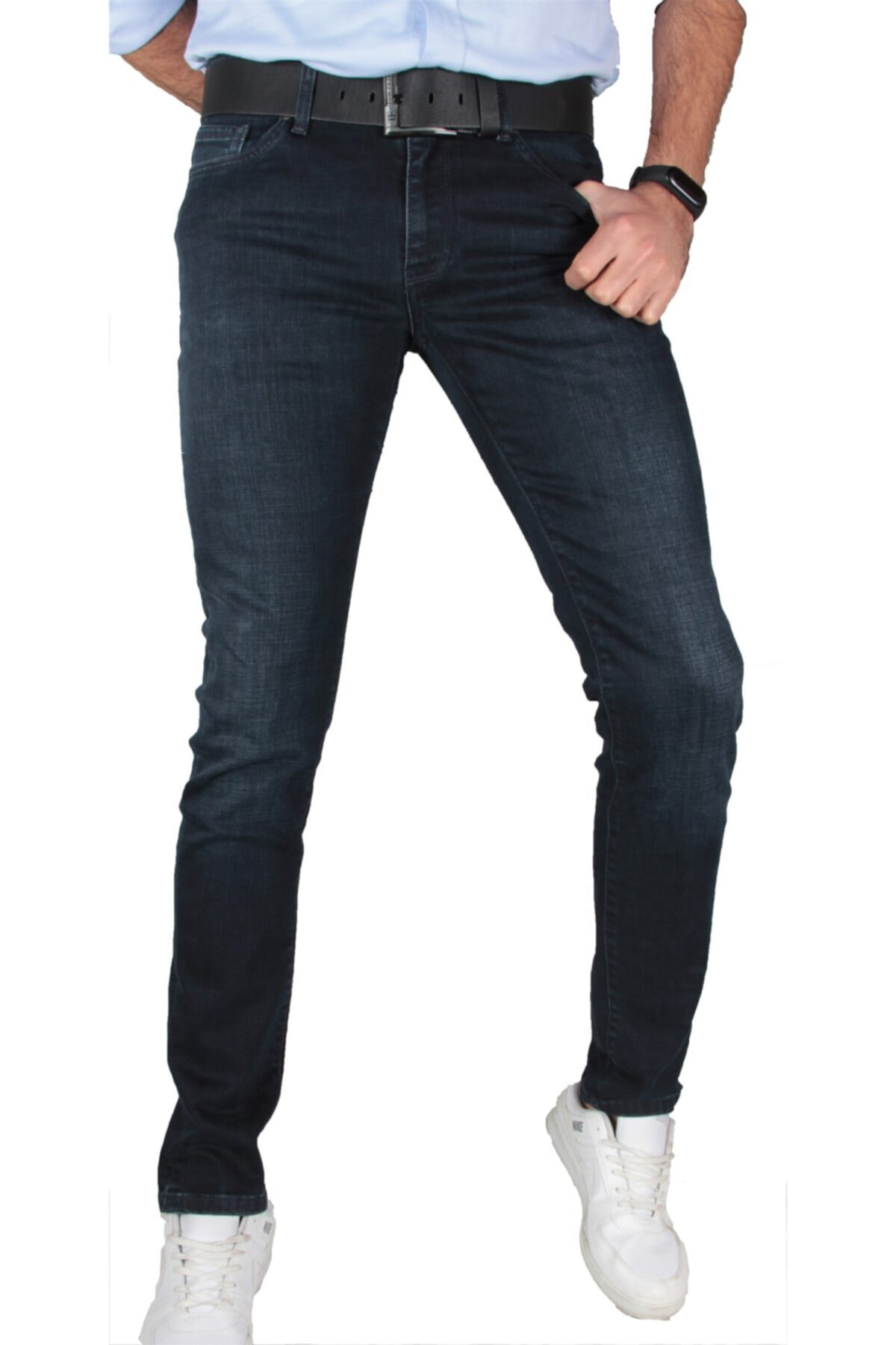 Erkek Likralı Koyu Lacivert Kot Pantolon