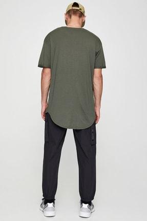 Pull & Bear Erkek Haki Uzun Basic T-Shirt 05234513 2