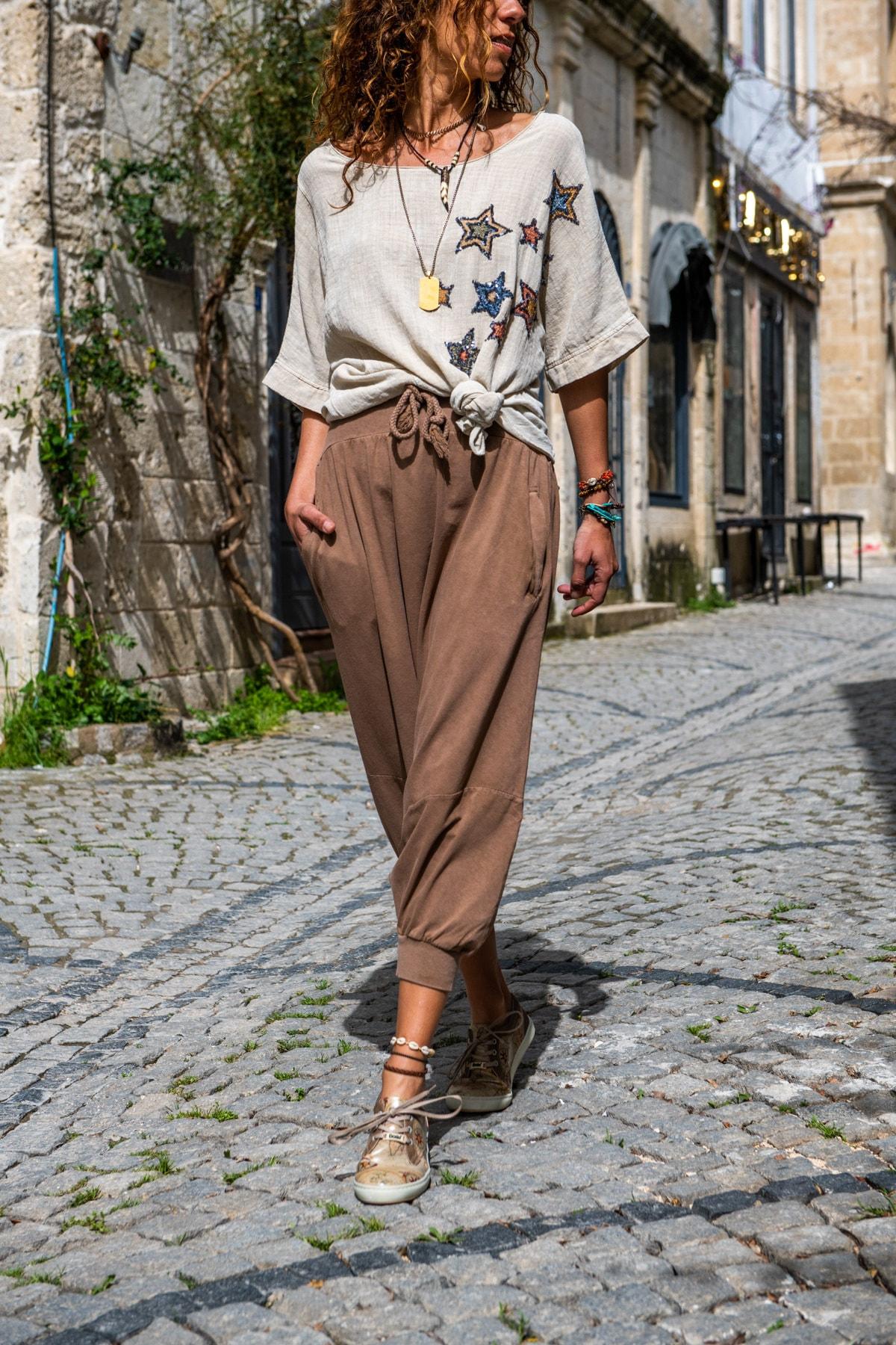 Güneşkızı Kadın Bakır Yüksek Bel Cepli Beli Lastikli Şalvar Pantolon GK-RSD2004 1