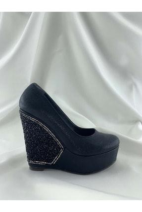Siyah Sivama Kadin Abiye Dolgu Topuklu Ayakkabi UG004130