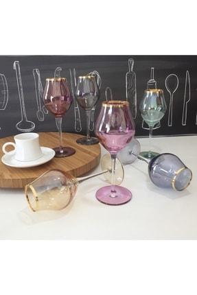 Renkli Kahve Yanı Cam Ayaklı Su Bardağı Kadeh 6 Kişilik PNKV7111