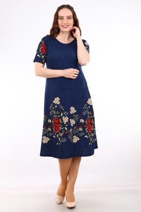 Alesia Kadın Lacivert Çiçek Desenli Kısa Kol Krep Elbise MHMT2020-410 1