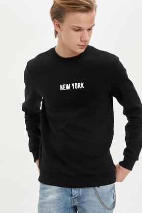 Defacto Erkek Siyah New York Baskılı Sweatshirt N2569AZ.20SP.BK27 0