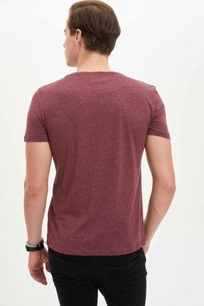 Defacto Erkek Bordo Baskılı Slim Fit T-Shirt M4080AZ.20SP.BR34 3