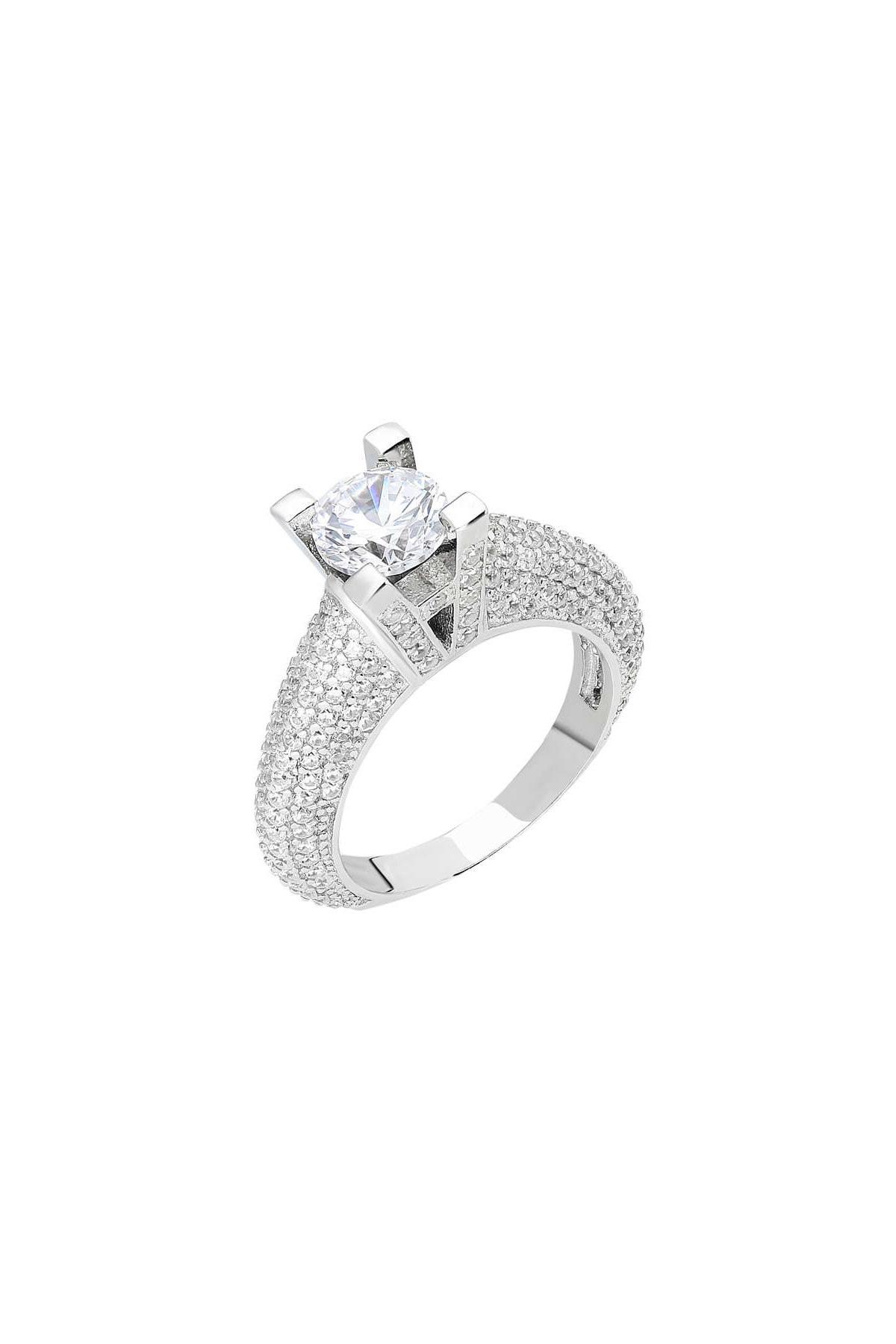 Tesbihane Starlight Diamond Pırlanta Montür Avangarde 925 Ayar Gümüş Bayan Tektaş Yüzük 102001803 3