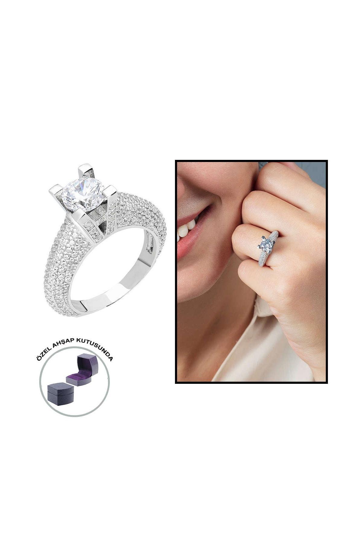 Tesbihane Starlight Diamond Pırlanta Montür Avangarde 925 Ayar Gümüş Bayan Tektaş Yüzük 102001803 0