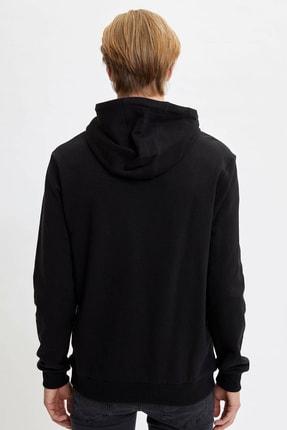 Defacto Kapüşonlu Slim Fit Reflektör Baskılı Sweatshirt 4