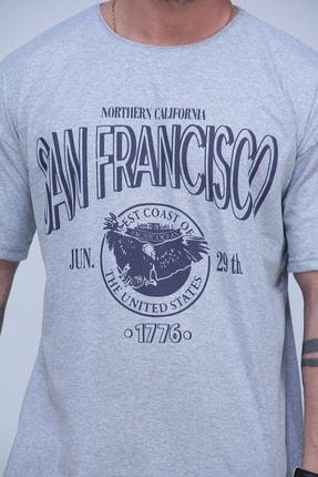 Black Sokak Erkek Gri San Francisco Baskılı Oversize Tshirt 3