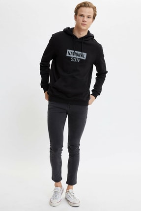 Defacto Kapüşonlu Slim Fit Reflektör Baskılı Sweatshirt 1
