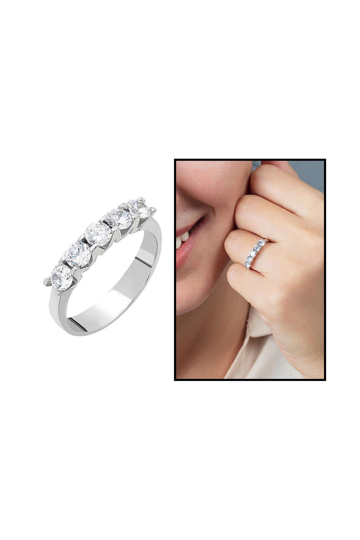 Tesbihane Starlight Diamond Pırlanta Montür Mini Tasarım 925 Ayar Gümüş Bayan Beştaş Yüzük 102001809 1