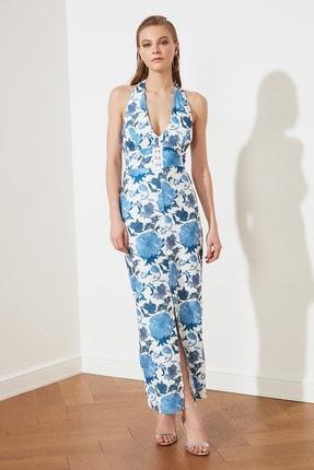 TRENDYOLMİLLA Mavi Çiçek Desenli Bel Detaylı  Abiye & Mezuniyet Elbisesi TPRSS21AE0144 2