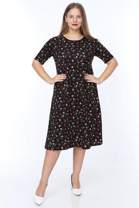Alesia Kadın Siyah Çiçek Desenli Kısa Kol Krep Elbise MHMT2020-310 2
