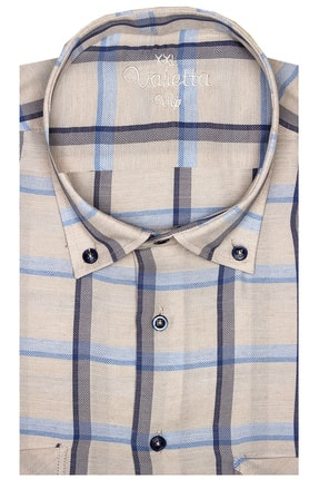 تصویر از Erkek Bej Rengi Kısa Kollu Büyük Beden Keten Efektli Yaka Düğmeli Çift Cepli Gömlek