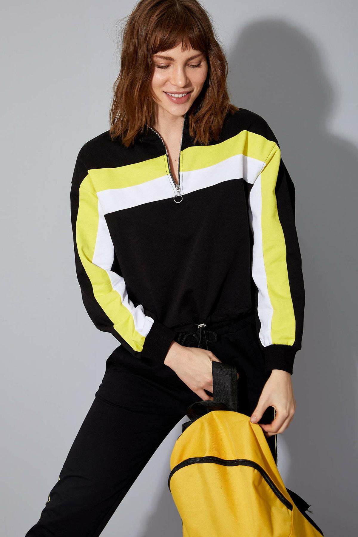 Kadın Siyah Fermuar Detaylı Sweatshirt N2812AZ.20SP.BK27
