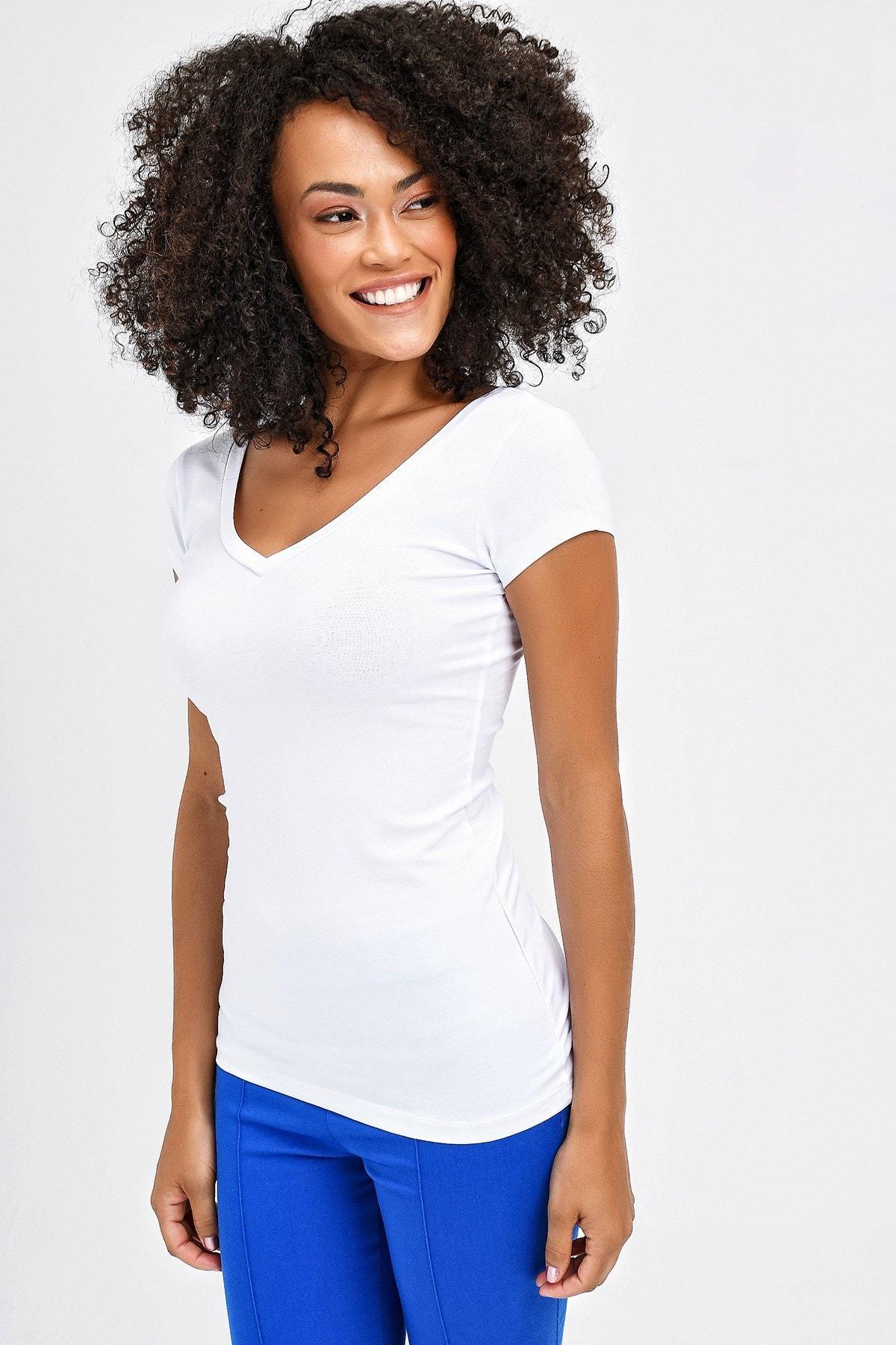 Jument Kadın Beyaz Ön-Arka V Yaka Kısa T-Shirt 5612 1