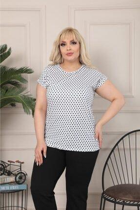 Butik Şımarık Kadın Büyük Beden Bisiklet Yaka Beyaz Siyah Küçük Puantiyeli Kısa Kol T.shirt 1