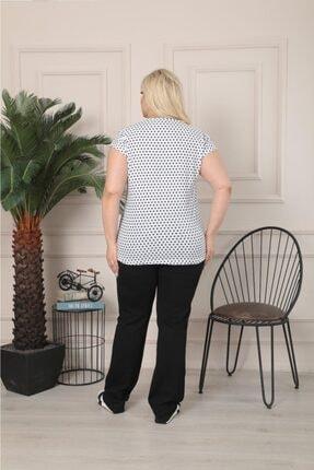 Butik Şımarık Kadın Büyük Beden Bisiklet Yaka Beyaz Siyah Küçük Puantiyeli Kısa Kol T.shirt 3