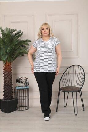 Butik Şımarık Kadın Büyük Beden Bisiklet Yaka Beyaz Siyah Küçük Puantiyeli Kısa Kol T.shirt 4