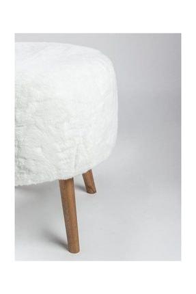 Dekortif Yuvarlak Beyaz Peluş Puf Ahşap Ayak Pf1035192535 3