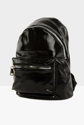 Bagmori Parlak Siyah Kadın Kalın Fermuarlı Dokulu Sırt çantası  M000004125 1