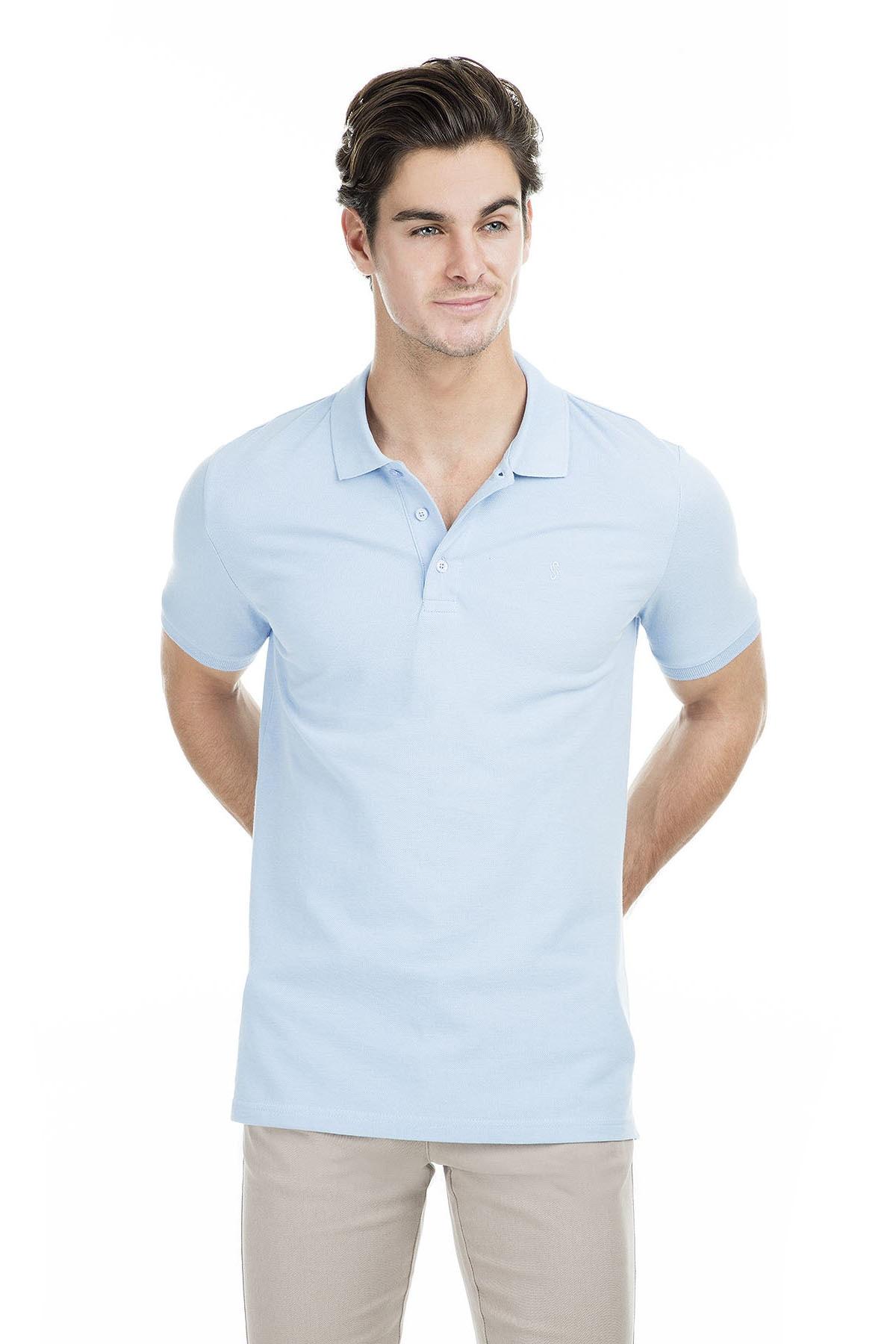 Sabri Özel Erkek Açık Mavi Polo Yaka T-Shirt - T446688 2