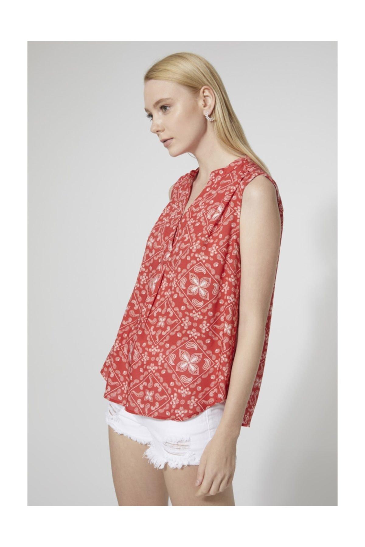 Kadın Kırmızı Denenli  Bluz