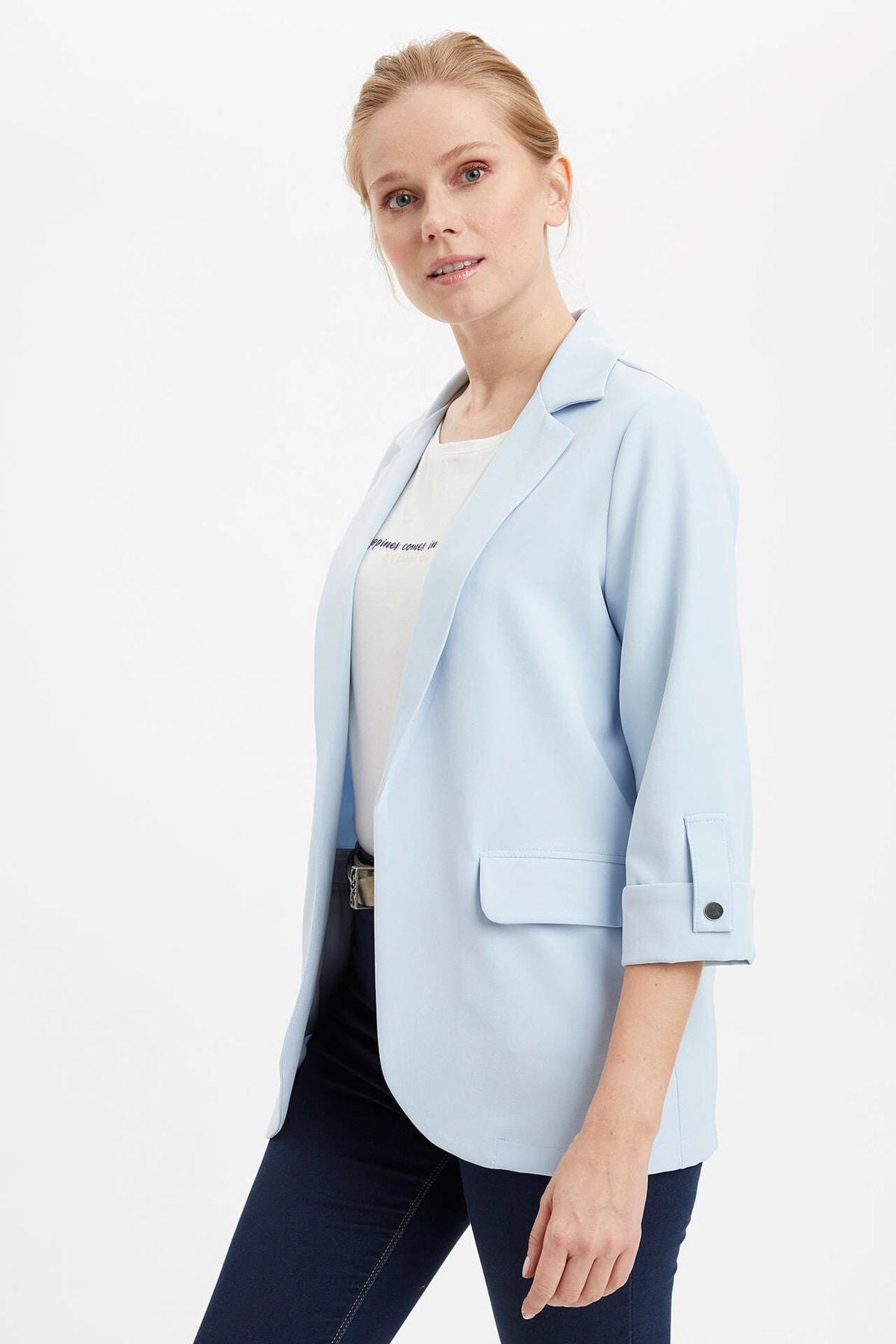 Kadın Mavi Regular Fit Basic Blazer Ceket N1286AZ.20SP.BE343